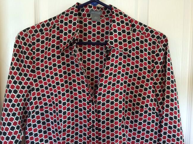 Ann Taylor Top Black, Red, and White Multi