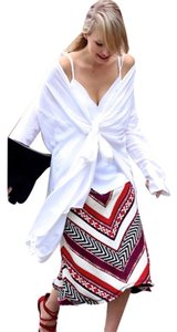 Zara A-line Ethnic Western Chevron Skirt Red, Black, White