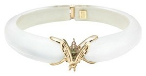 Alexis Bittar Alexis Bittar White Lucite And Gold Bee Hinged Bracelet