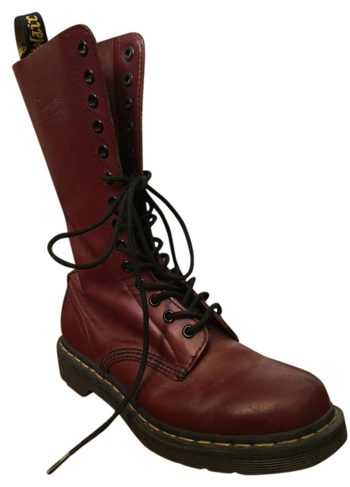 Dr. Deep Martens Deep Dr. Red Leather Midcalf Boots/Booties f8ee29