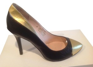 Steven by Steve Madden Leather Stilettos Made In Spain Black and gold Pumps