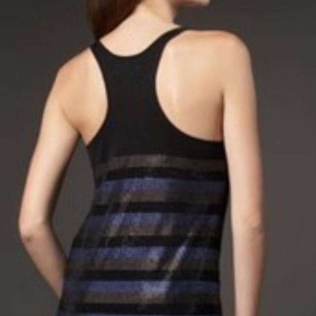 Torn by Ronny Kobo Racer-back Bergdorf Top Black/Blue/Gold Crystal Stripes