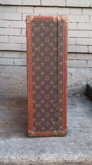 Louis Vuitton Suitcase Hardsided Leather Coated Canvas Monogram Vintage Brown Travel Bag