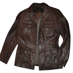Kenneth Cole Reaction Leather Pocketed Brown Leather Jacket