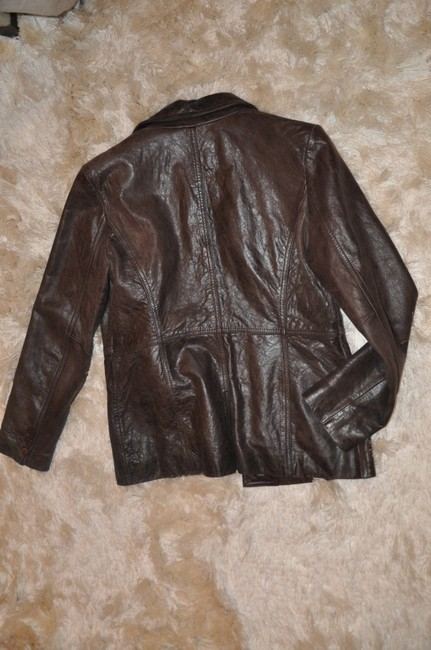 Kenneth Cole Reaction Pocketed Brown Leather Jacket