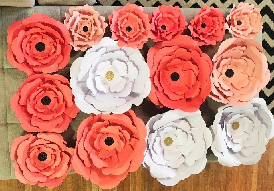 Coral White Handmade Paper Flowers Reception Decoration 19 Off Retail