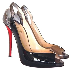 Christian Louboutin Peep Toe Patent Leather Multicolor Stiletto Beige, Black Pumps