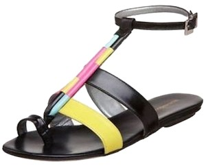 Georgina Goodman Leather Multi Color Black/Pink/Aqua/Yellow Flats