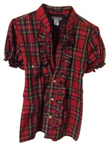 Urban Renewal Button Down Shirt Red Plaid