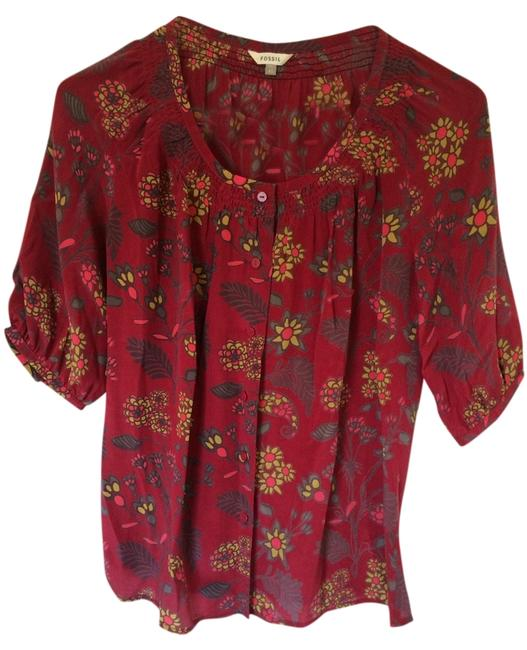 Item - Red Multi Blouse Size 2 (XS)