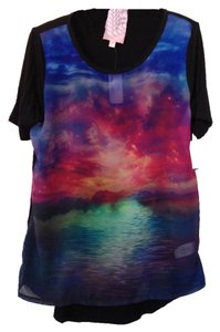 Romeo & Juliet Couture Print Space T Shirt pink blue multi