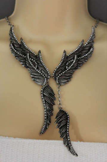 Other Women Antique Silver Long Necklace Metal Angel Wings Fashion Jewelry Earrings
