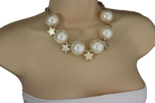 Alwaystyle4you Women Short Cream Necklace Gold Metal Star Big Ball Bead Earring
