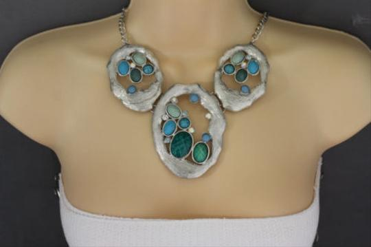 Other Women Silver Necklace Metal Chains Nautical Charms Turquoise Blue Beads Earrings