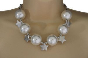 Alwaystyle4you Women Short Cream Necklace Stars Ball Beads Fashion Jewelry Earring