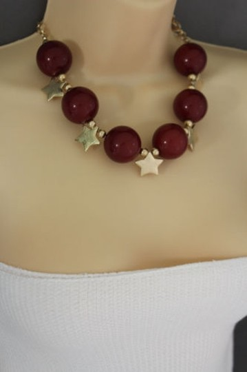 Other Women Short Red Necklace Gold Metal Stars Big Ball Beads Fashion Jewelry Earring