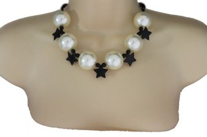 Alwaystyle4you Women Short Ivory Necklace Black Stars Ball Beads Jewelry Earring