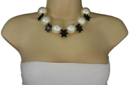 Other Women Short Ivory Necklace Black Stars Ball Beads Jewelry Earring