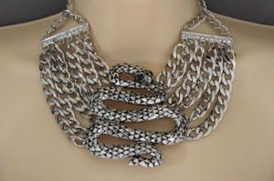 Women Silver Necklace Chunky Metal Chain Big Cobra Snake Fashion Jewelry Earring