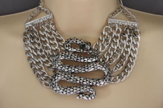 Preload https://item4.tradesy.com/images/women-silver-necklace-chunky-metal-chain-big-cobra-snake-fashion-jewelry-earring-10516588-0-0.jpg?width=440&height=440