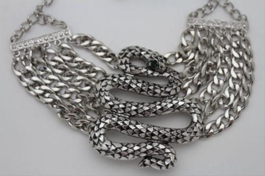 Other Women Silver Necklace Chunky Metal Chain Big Cobra Snake Fashion Jewelry Earring