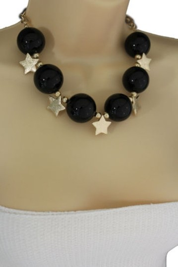Other Women Short Black Necklace Metal Gold Star Big Ball Bead Fashion Jewelry Earring