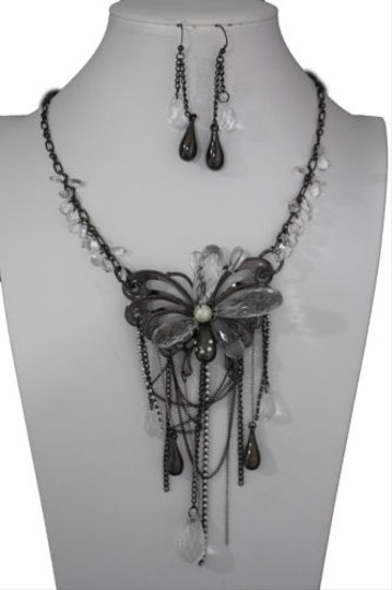 Preload https://img-static.tradesy.com/item/10516600/women-black-silver-long-necklace-metal-big-butterfly-fashion-jewelry-earrings-0-0-540-540.jpg