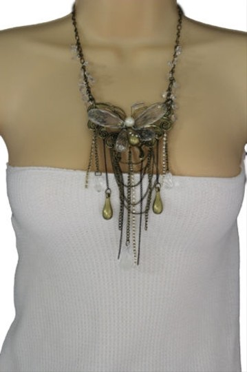 Other Women Gold Long Necklace Metal Big Butterfly Clear Beads Fashion Jewelry Earring