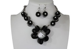 Other Women Black Fabric Flower Necklace Chain Big Silver Bead Earring