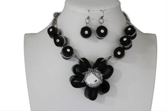 Preload https://img-static.tradesy.com/item/10516612/women-black-fabric-flower-necklace-chain-big-silver-bead-fashion-jewelry-earring-0-0-540-540.jpg