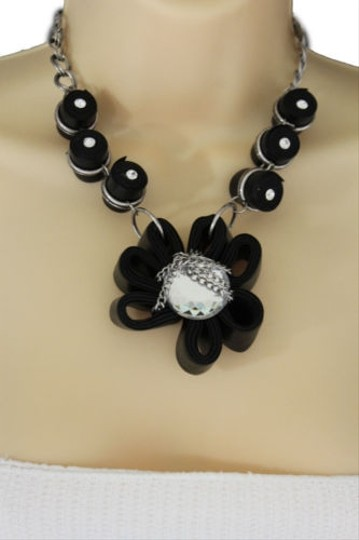 Other Women Black Fabric Flower Necklace Chain Big Silver Bead Fashion Jewelry Earring