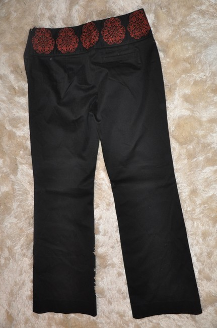 Anthropologie Embellished Studded Unique Straight Pants Black