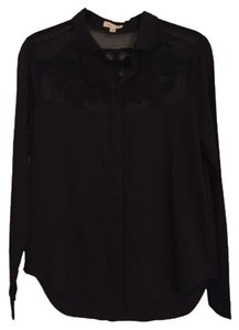 Silence + Noise Button Down Shirt Blac