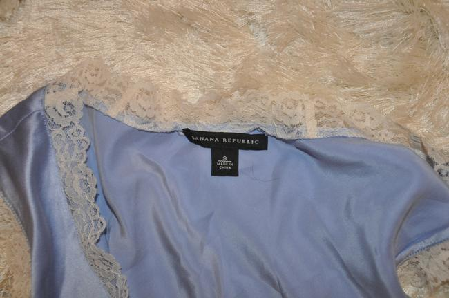 Banana Republic Silk Lace Trim Top Blue