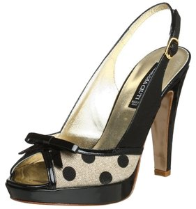 Claudia Ciuti New Platform Patent Leather Polka Dot Slingback Black Multi Sandals