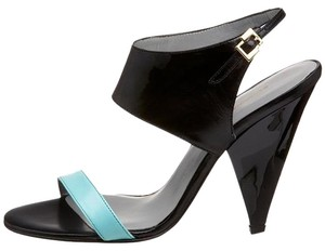 Georgina Goodman Aqua Leather Lacquered Black Gold Aqua/Black Sandals