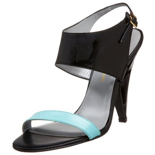 Georgina Goodman Leather Lacquered Gold Aqua/Black Sandals