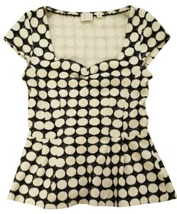 Anthropologie Peplum Polka Dot Sweetheart Neckline Top Black & White