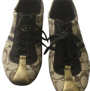 Oh shoes with khaki brown and go trimming Brown tan gold Athletic