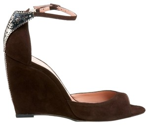 Alexandra Neel Suede Metal Harware Leather Chocolate Brown Sandals