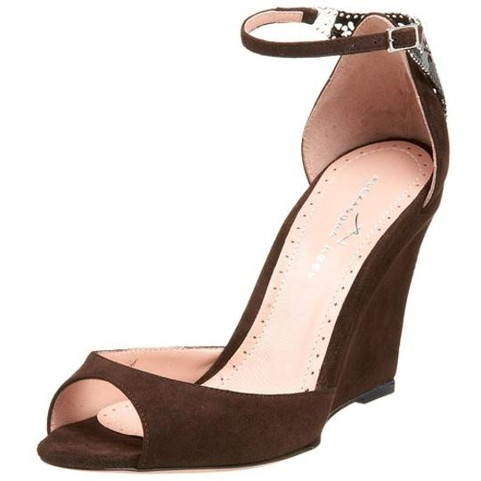 Alexandra Neel Suede Metal Harware Leather Filagree Brand New Chocolate Brown Sandals Image 10