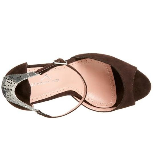 Alexandra Neel Suede Metal Harware Leather Filagree Brand New Chocolate Brown Sandals Image 8