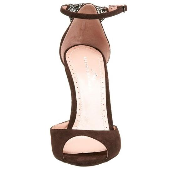 Alexandra Neel Suede Metal Harware Leather Filagree Brand New Chocolate Brown Sandals Image 9