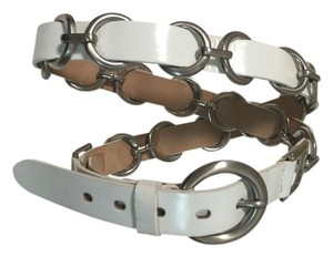 A|X Armani Exchange White leather belt with silver hardware