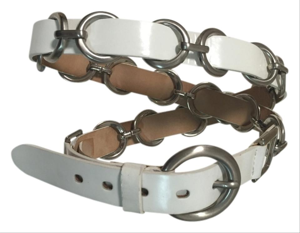 A|X Armani Exchange White leather belt with silver ...