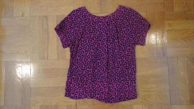 Marc by Marc Jacobs Wool Print Sweetheart Pleated Top Hot pink, navy