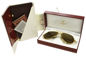 Cartier Auth CARTIER Logos Reading Glasses Sunglasses Eye Wear Brown Gold Vintage G01734