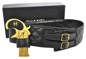 Chanel Auth CHANEL Vintage CC Pistol Motif Quilted Leather Belt Black 93A 70/28 BA00197