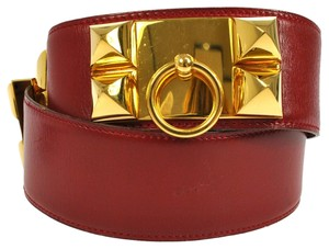 Hermès AUTH HERMES COLLIER DE CHIEN MEDORU BELT LEATHER RED GOLD FRANCE VINTAGE RK06908