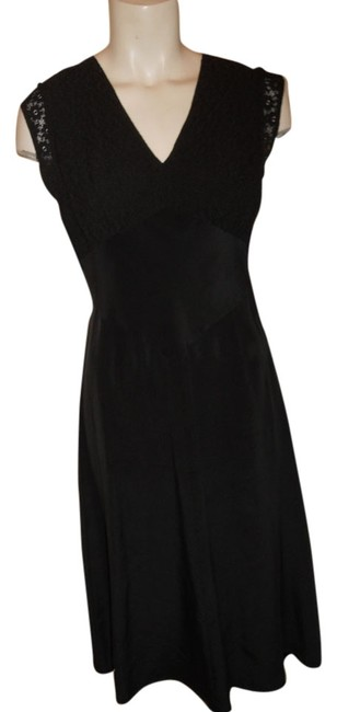 Free People Black Silk & Lace Mid-length Cocktail Dress Size 8 (M) Image 0